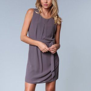 Shift Sleeveless Charcoal Dress with Gold Collar